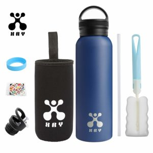 Gourde inox pour enfant XRY, super résistante et isotherme, fournie avec un kit d'accessoires très complet